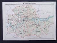 LONDON MAP METROPOLITAN BOROUGHS VINTAGE BARTHOLOMEWS- 9inx 6in DATED 1929
