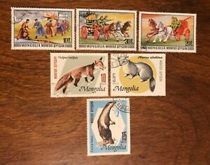 MONGOLIA postage stamps lot of 6 2 sets fire fighting animals