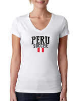 Peru Soccer T shirts  Women's V neck 100% cotton Lady women tee Any Sports