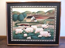 "Oil Painting on Canvas 40""x46"" - Herd of Sheep Near Trees"