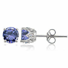Sterling Silver Tanzanite and White Topaz Crown Stud Earrings