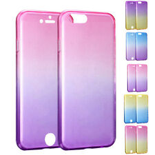 360° Front and Back Gradual Color Clear Protect Cell Phone Case Cover For iPhone