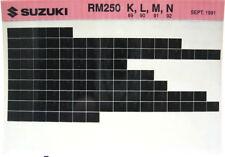 Suzuki RM250 1989 - 1992 Parts Microfiche s259