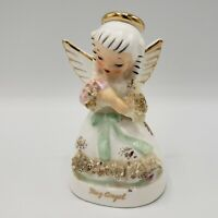 Vintage NAPCO A1365 MAY Birthday Angel FIGURINE Spaghetti Trim Japan 1950's