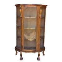 Antique Victorian Oak Carved Griffin Curved Glass Bookcase China Cabinet