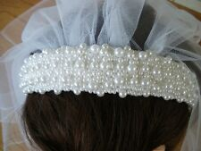 First Communion Headband, White Pearl Headband w/ Rose Lace Trim Veil NEW