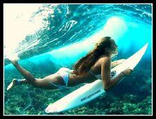 "4.5"" Sexy duck dive diva vinyl surfing sticker. Bikini surfer decal for laptop."