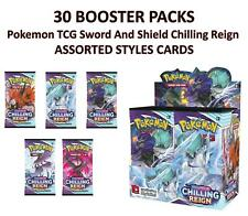 More details for 30 booster pack pokemon tcg sword and shield chilling reign assorted styles card