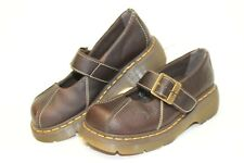Dr. Doc Martens 12277 Womens 7 38 Brown Leather Chunky Mary Janes Shoes wv
