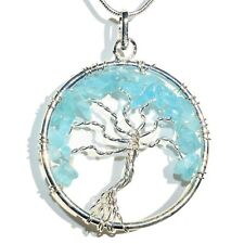 "CHARGED Natural Blue Apatite Tree of Life Perfect Pendant™ 20"" Silver Chain"