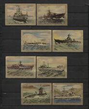 Nice Lot of 8 1952 Vintage War Ships 1950s Dutch Trading Cards