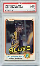 1981 O-PEE-CHEE HOCKEY #302 JACK BROWNSCHIDLE PSA 9 MINT NQ BLUES LOW POP