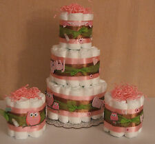 3 Diaper Cakes for Baby Shower Centerpiece Pink Owls, Happi Tree Blue or Pink