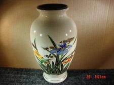 Vintage Vase Japan Floral Iris Bird Ornate Porcelain