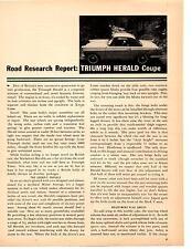 1960 TRIUMPH HERALD COUPE  ~  ORIGINAL 7-PAGE ROAD TEST / ARTICLE / AD