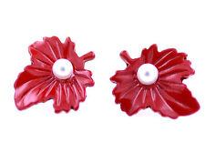 Impresionante perla blanca en rojo hoja de arce pendientes de presión