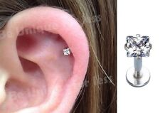 Claw Embedded Square Crystal Tragus Helix Bar Cartilage Ear Earring Screw On