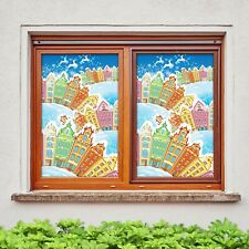 3D Color N537 Christmas Window Film Print Sticker Cling Stained Glass Xmas Fay