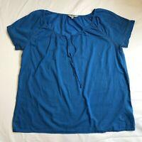 Cotton Top Shirt Blouse UK 16 Blue Short Sleeves