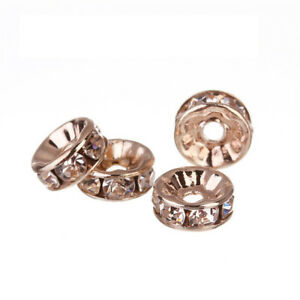 50pcs Gold Crystal Spacer Beads Jewelry Findings Making DIY Bracelet Necklace