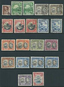 Grenada 1937-1950 ¼d- 10/- used, between SG 152 to 163, perf varieties, cat £43+