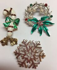 3 vintage Christmas Pins, Silver snowflake, silver wreath, Candy cane w/ bells