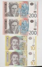 More details for four 10 & 200 dinara banknotes from serbia 2006 to 2013 in mint condition.