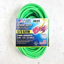 50' 12 Gauge Fluorescent Green Extension Cord w Lighted End - MADE IN USA