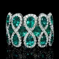 Gorgeous Women 8 Shaped Emerald 925 Silver Jewelry Wedding Ring Size 6-10