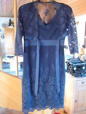 Festliches Kleid dunkelblau Spitze von s'Oliver mit Bolero Gr. 36