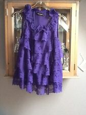 Almost Famous purple frilly party top UK 12