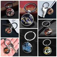 NFL American Football Keychain Silver Keyring Pendants Glass Keychains Gifts