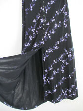 BRIGGS womens long skirt S black floral stretch maxi a-line front slit & buttons