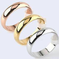 4mm Round 10K Yellow White/Rose Gold Plated Ring Men/Women's Wedding Band Sz6-12