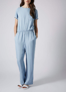 Brand New Women's Topshop MOTO Pocket Tee Jumpsuit in Blue Size 6 Free Gift