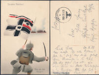 1939 Germany PPC Feldpost picture Postcard Cover Imperial battle colors