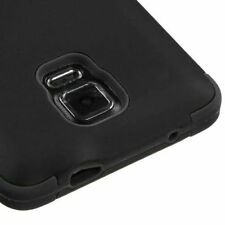 For Samsung Galaxy Note 4 - HARD RUBBER GUMMY TPU SKIN CASE COVER BLACK ARMOR