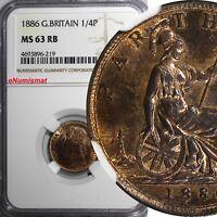 Great Britain Victoria Bronze 1886 Farthing NGC MS63 RB Britannia KM# 753