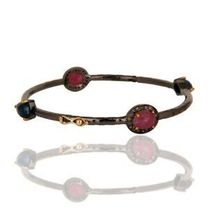 Solid 14K Yellow Gold Ruby Blue Sapphire Cuff Bangle Wedding Jewelry