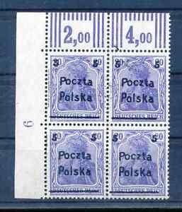 1919 POLAND, POZNAN surcharge POCZTA POLSKA, 5/20fen. bl.4, ERROR , MNH.OG.VF.