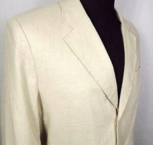 Andrew Fezza Blazer Mens Size M Medium Three Button Linen & Rayon Blend Beige