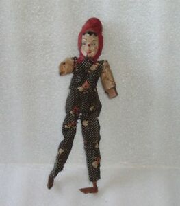 Antique Wood Papier-Mache Mechanical Jester Clown Toy Doll Play Cimbal?,Germany?