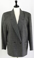 Vintage Christian Dior Size 14 Jacket Blazer Grey Double Breasted Notch Collar