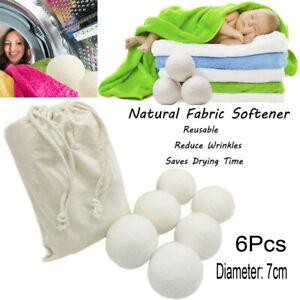 Sheep 6-Pack Premium Wool Dryer Balls Reusable Natural Fabric Softener Durable