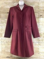 Vtg Pret A Porter Long Jacket Blazer Coat Womens Size 12 Length Trench Duster