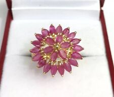 14k Solid Yellow Gold Cluster Round Ring, Natural Ruby .Sz 7. 3.46 Grams