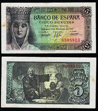 ESCASO BILLETE. 5 Pesetas SIN SERIE año 1943. Isabel la Católica. Nº 8308813.