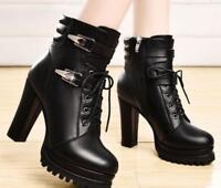 Womens Chic High Heels Shoes Platform Lace-up Ankle Boots Zipper Black Brown SZ