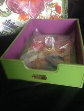 MACKENZIE CHILDS Flower Market Green Leather Desk Inbox Letter Box NEW Retired