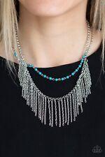 Paparazzi Jewelry Necklace ~Fierce In Fringe - Blue